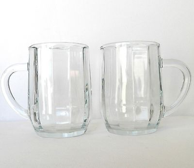 TWO VERY NICE GLASS CUPS / MUGS MADE IN U.S.A. WITH INDENTATIONS ON THE INSIDE](Glass Mugs In Bulk)