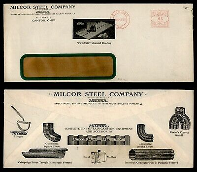 1935 MILCOR STEEL CO RAIN GUTTERS ADVERTISING CANTON OHIO OH -