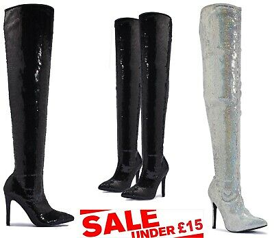 Womens Ladies Shimmer Stiletto Heels Zip Sexy Thigh High Long Over Knee Boots !