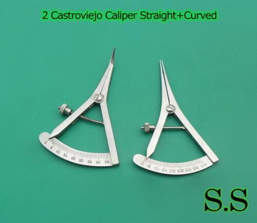 2-Castroviejo Caliper 3.75  STR+CVD Graduated 0-40 mm Dental Surgical Instrumen