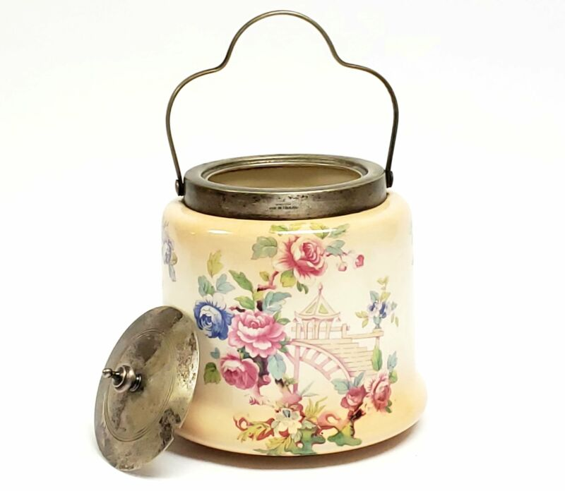 Antique English Biscuit Barrel w/ EPNS Silver Plate Lid and Handle, Gazebo and R