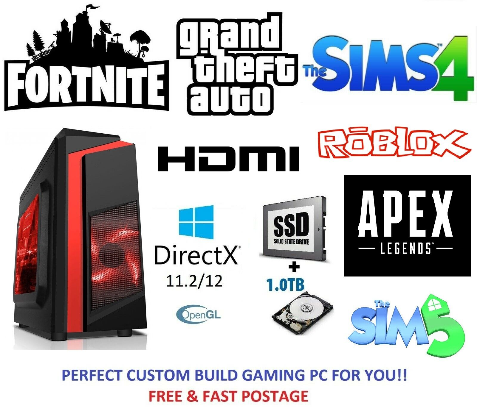 Computer Games - Fast Gaming PC Computer Intel Quad Core i5 16GB 120GB SSD 1TB 2GB GTX 710