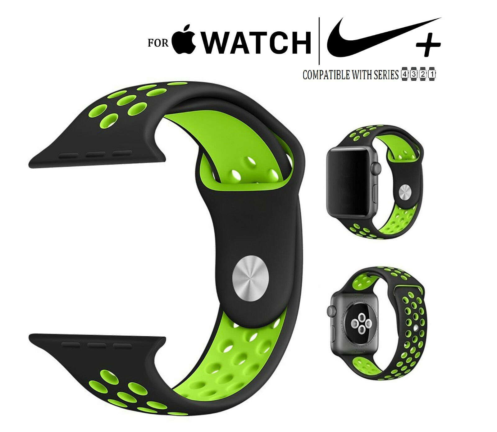 For Apple Watch Nike Sport Silicone Replacement Fitness Band 38mm Series 1-4 Jewelry & Watches