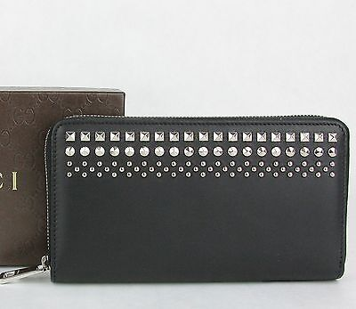 Detail Zip Wallet (New Gucci Men's Black Leather Zip Around Wallet with Studded Detail 387456 1000)