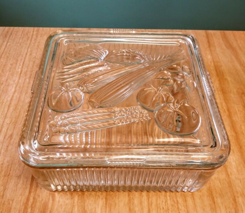 LARGE SQUARE Vintage Clear Ribbed Glass Refrigerator Dish Container & Lid Veggie