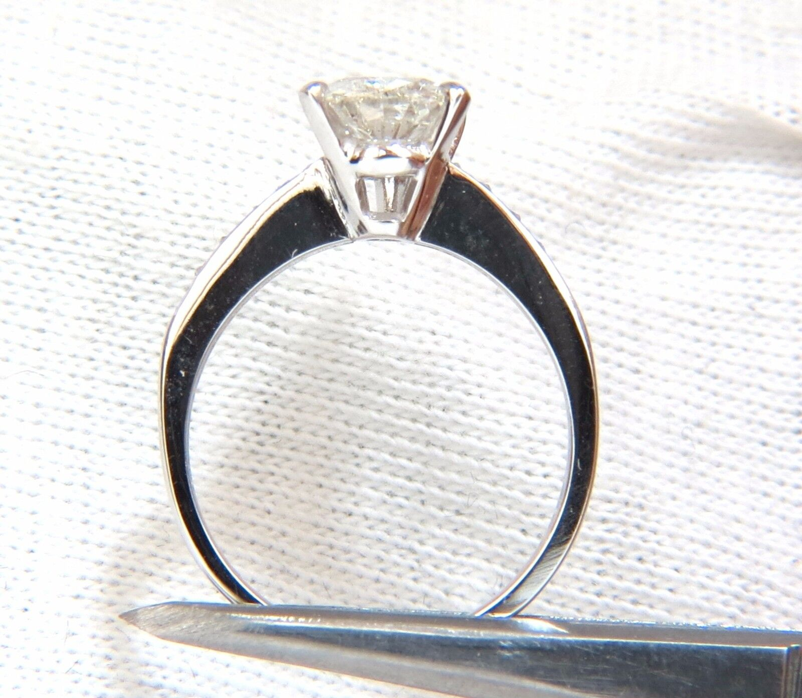 GIA Certified 1.49ct Pear Shape diamond ring .20ct. round accents 14kt 5