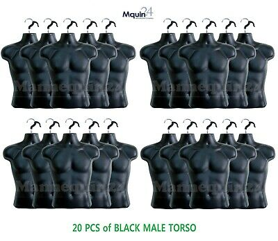 20 Pack - Male Torso Mannequin Black Male Clothing Display Body Forms 20 Hangers