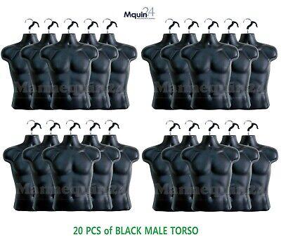 20 Pack - Male Torso Dress Body Form Hanging Mannequins Black Mean Clothing