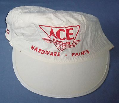 Vtg Ace Hardware Paper Paint Painters Hat Cap Advertisement Old Airplane Logo
