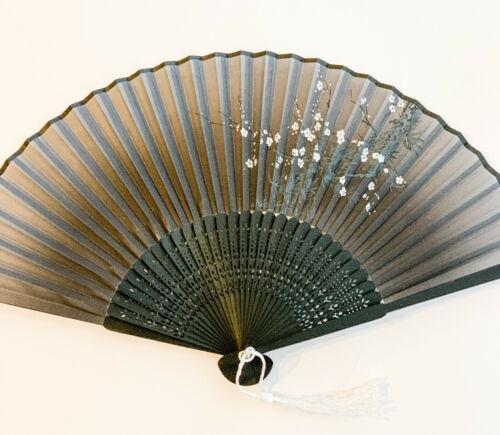 Chinese Japanese Bamboo Handfan Folding Fan White Plum Flower Print Grey Color