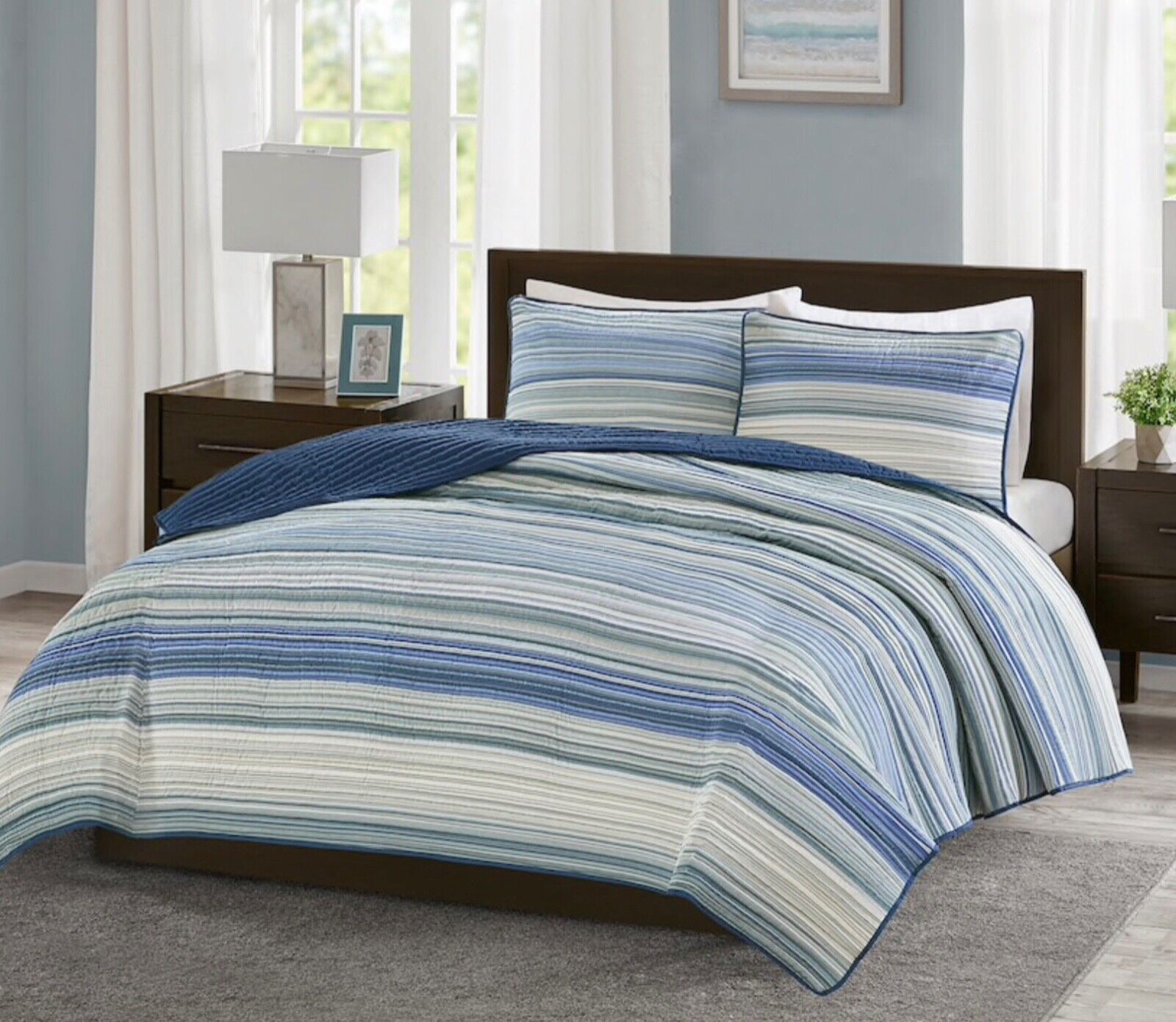 New Madison Park KING Sz 3 pcs Quilt Blanket Bedding Set - B