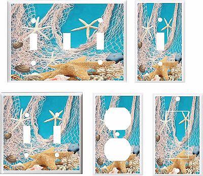 TROPICAL BEACH STARFISH SEASHELL FISHNET LIGHT SWITCH COVER PLATEYOU PICK  SIZE](Beach Light Switch Covers)