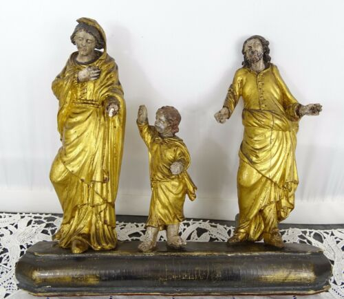 Antique French Gilded Wood Religious Statue - 3 Characters on Plinth 18th