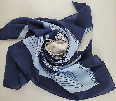 Vintage Scarf Styles -1920s to 1960s Vintage Leonardi Geometric Scarf Blue and White Square  $9.99 AT vintagedancer.com