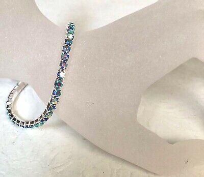 New Single Row Stretch Rhinestone Lt. Blue Sapphire Silver Plated Bracelet