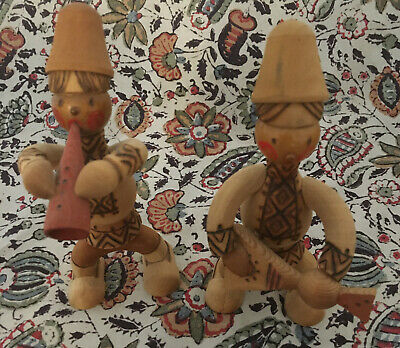 Vintage Russian Wooden 'Joyful Boys' Musician Carvings. Ornaments 6