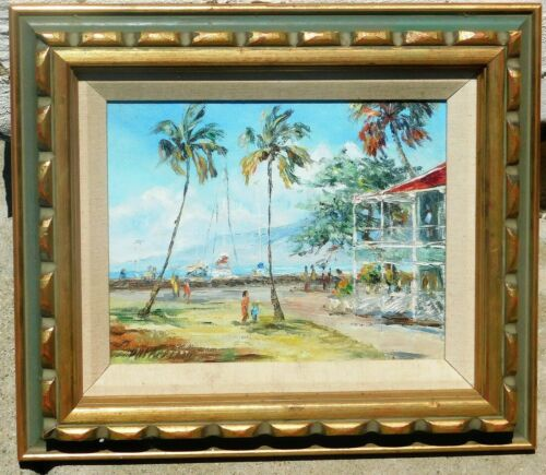 Betty Hay Freeland Maui Lahaina Pioneer Inn original oil painting 1975, 8 X 10in