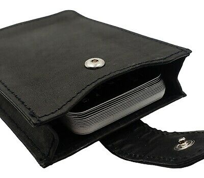 Mens Leather Magnetic Money Clip With Expandable Card Pouch Gusset Wallet Sleeve