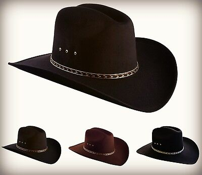 Cowboy Hat W/ Faux Felt Wide Brim Fully Lined 3-3/4