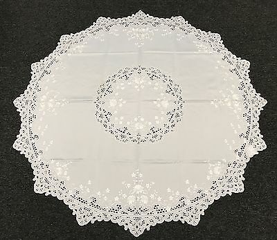 """White 72x72"""" Round Embroidery Cutwork Embroidered Tablecloth Napkins Fabric"""