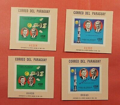 2 IMPERF MUESTRA OVERPRINT + 2 REG 1969 PARAGUAY JFK S/S #C323-4 MNH