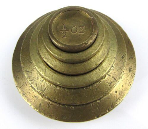Antique Avoirdupois Weights Brass Bronze Stacking Set British Imperial Marks