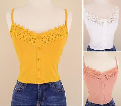 Women's Crochet Trim Button Front Soft Cotton Knit Tank Cami Crop Top Sleeveless