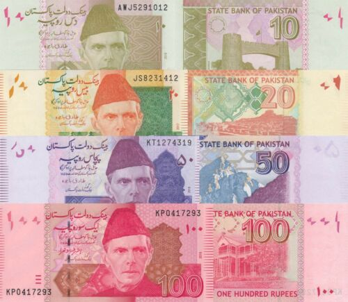 Pakistan 4 Note Set: 10 to 100 Rupees (2015/2018) - p45m,p55k,p47m,p48j UNC