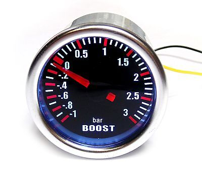 Universal 52mm Turbo Boost Gauge /1 to 3 Bar Pressure (No Logo on Face)