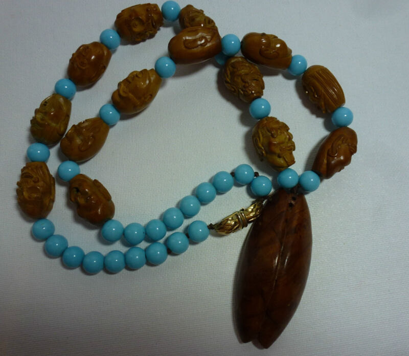 Vintage Chinese Nut Pit Carving Beads Guan Yin Wood Carving Pendant Necklace