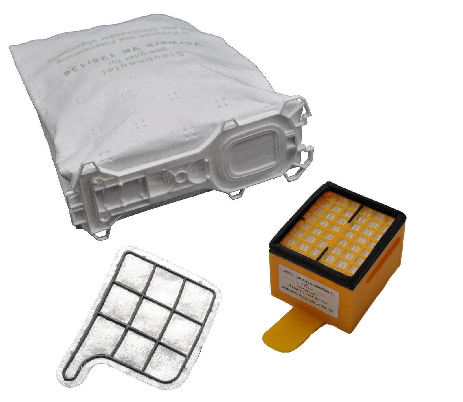 Filterset geeignet Vorwerk Kobold 135 136 Beutel Motorschutz Hygienefeinfilter
