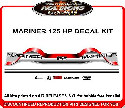 MARINER 125 hp Decal set reproduction stickers mercury 115 150