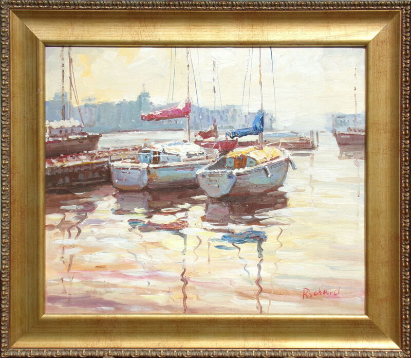"""richard"" Original Oil Painting Art On Canvas Sailboats Harbor Impressionism Obo"