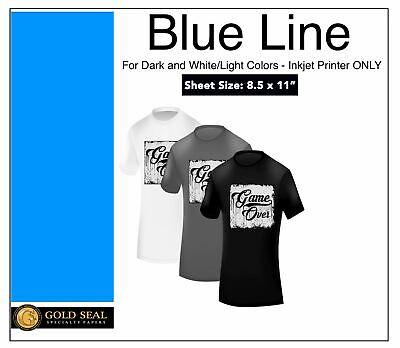 100 Sheets 8.5x11 Blue Line Dark Iron On Heat Transfer Paper For Inkjet