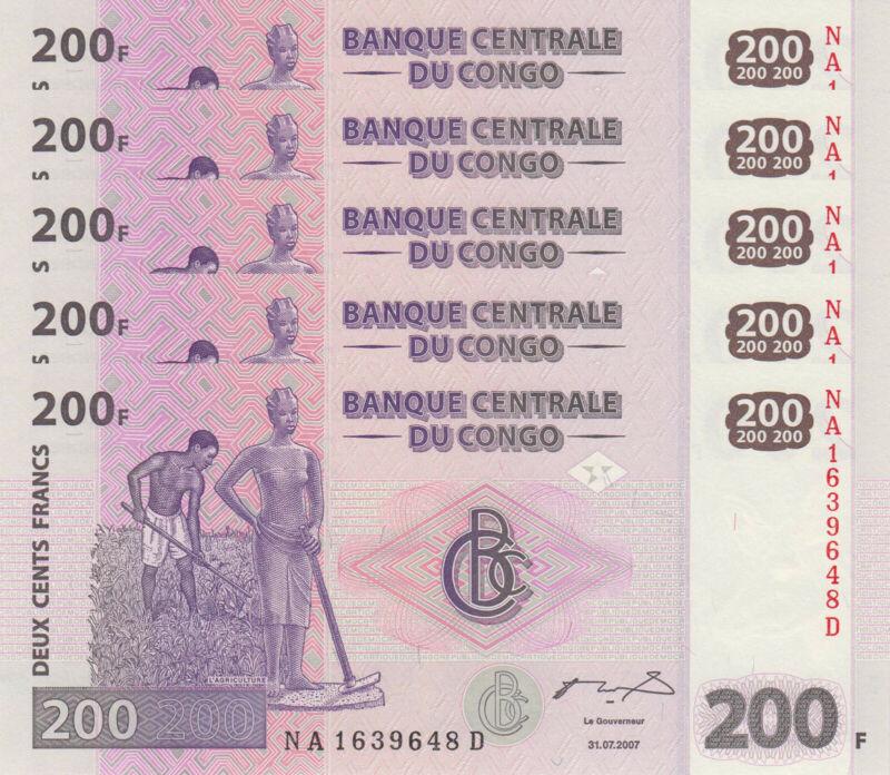 LOT, Congo DR 200 Francs (31.07.2007) p99 x 5 PCS UNC