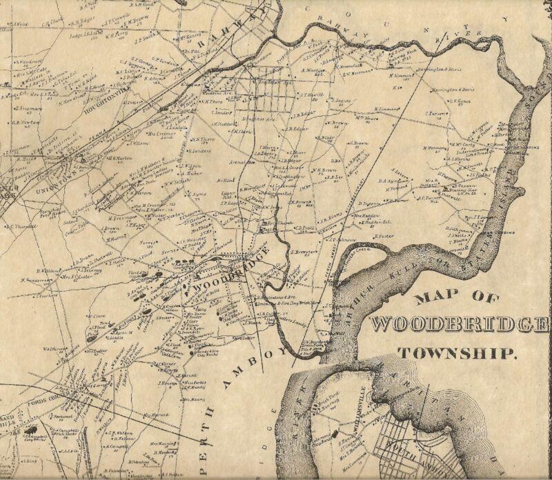 Woodbridge Iselin Avenel Carteret NJ 1876 Maps with Homeowners Names Shown