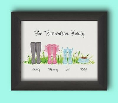 PERSONALISED FAMILY WELLIES PRINT - BUILD YOUR OWN FAMILY WELLIES GIFT CUTE  ()