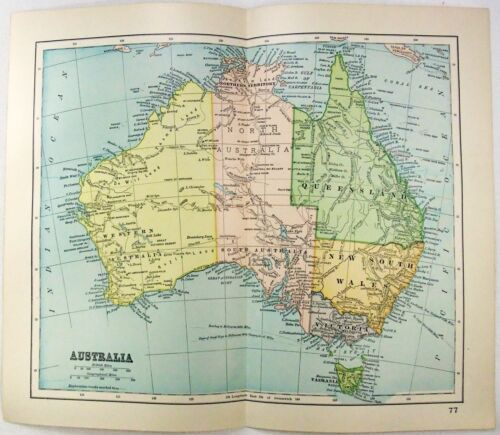 Original 1893 Map of Australia by Dodd Mead & Company. Antique