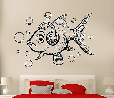 Fish Decor For Walls (Wall Decal Fish Ocean Sea Lake Fishing Cool Relax Decor For Bedroom)