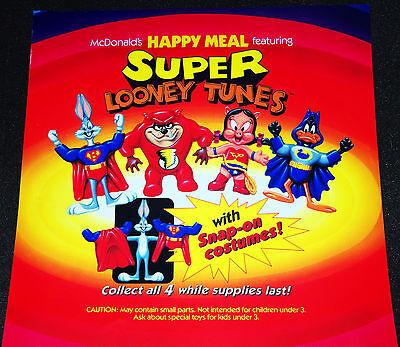 Mcdonalds Super Looney Tunes Happy Meal Toy Vintage Store Menu Translite Ad Sign