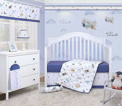 6-Piece Blue Outer Space Galaxy Baby Boy Nursery Crib Bedding Sets By OptimaBaby