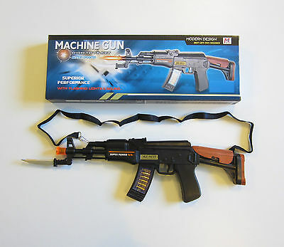 1 NEW TOY MACHINE GUN WITH LIGHTS SOUND & MOVING KNIFE MILTARY ASSAULT RIFLE - Toy Gun With Sound