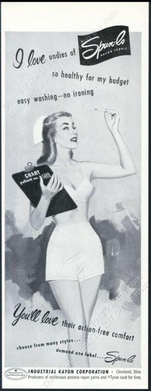 1951 sexy nurse art Spun-Lo lingerie bra panties vintage print ad