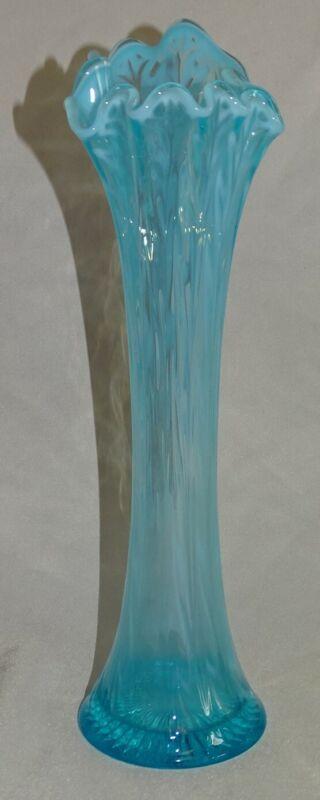 "Jefferson USA Heatherbloom Blue Opalescent Swung Vase 13"""