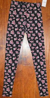 Women's Rue 21 Black Floral Roses Slip On Leggings Pants Size Small