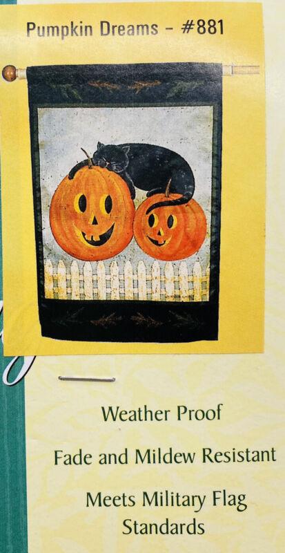 "Toland Fall Halloween Yard Flag Black Cat Jack-O-Lantern Pumpkin  24"" x 36"" New"