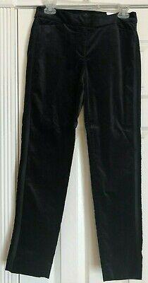 NWT Women's White House Black Market Black Velvet Slim Ankle Flat Panel Pants 2