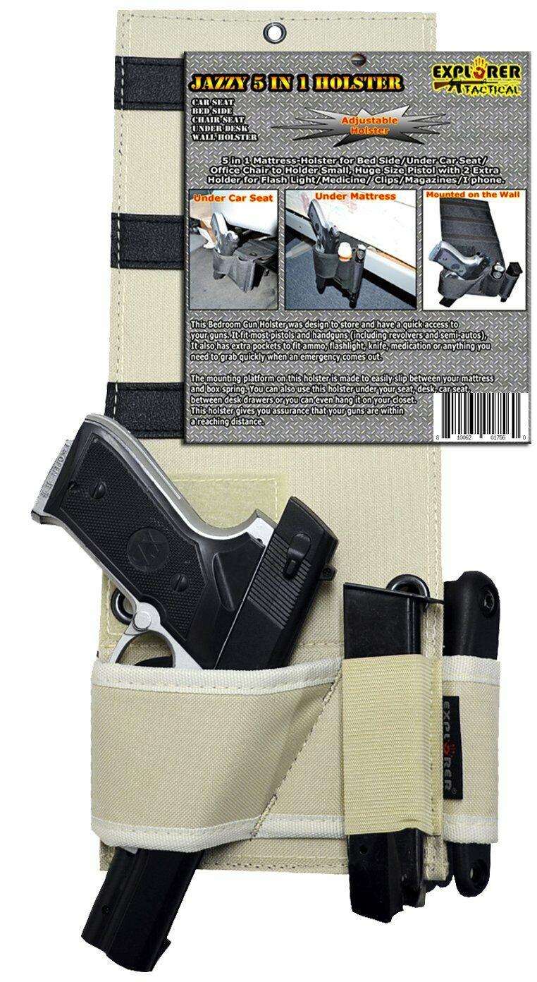 Under Mattress Bed Handgun Holster with Tactical Flashlight