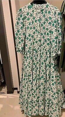 Zara Floral Print Dress Loose Flowing Midi 4786/070 Green White Xs M L XXL