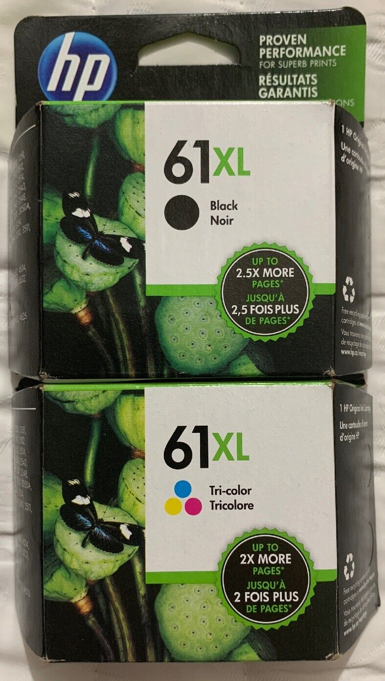 DESKJET 3510 3511 RETAIL BOX 2-PACK HP GENUINE 61XL Black /& 61 Tri-Color Ink
